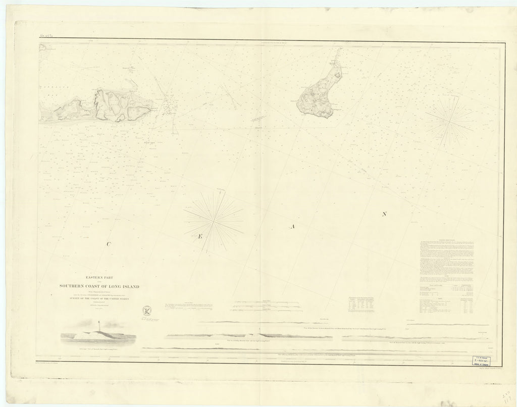 18 x 24 inch 1857 New York old nautical map drawing chart of EASTERN PART OF THE SOUTHERN COAST OF LONG ISLAND From  US Coast & Geodetic Survey x7043