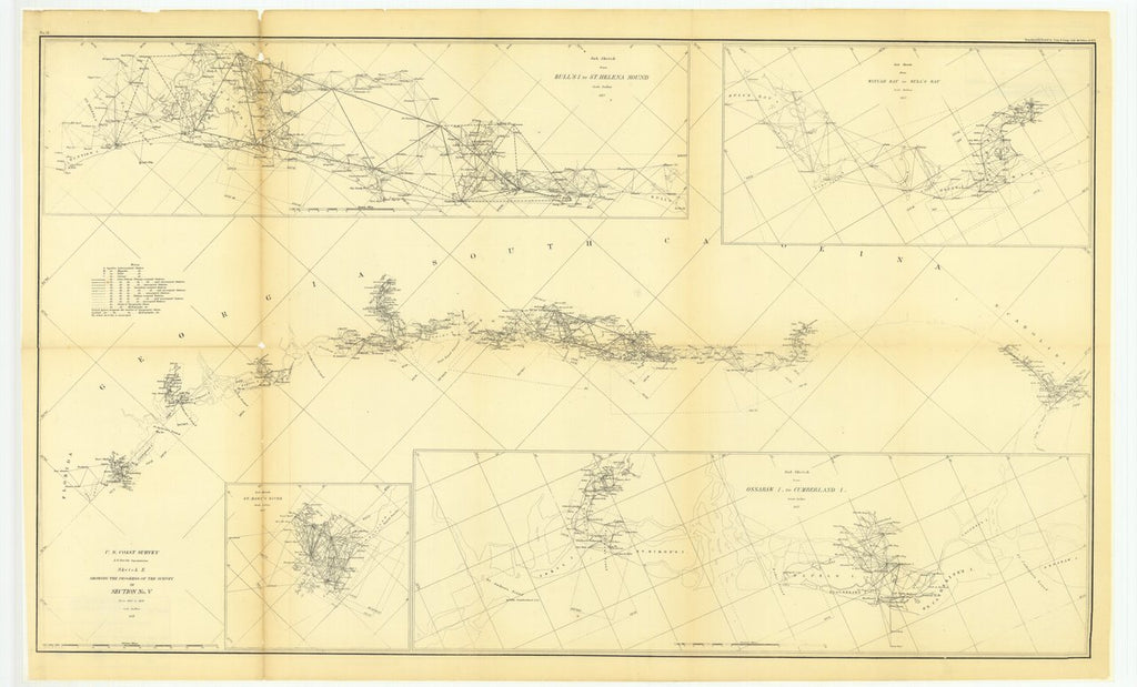 18 x 24 inch 1857 US old nautical map drawing chart of Sketch E Showing the Progress of the Survey in Section Number 5 from 1847 to 1857 with Sub Sketch of Saint Mary's River and.. From  U.S. Coast Survey x947