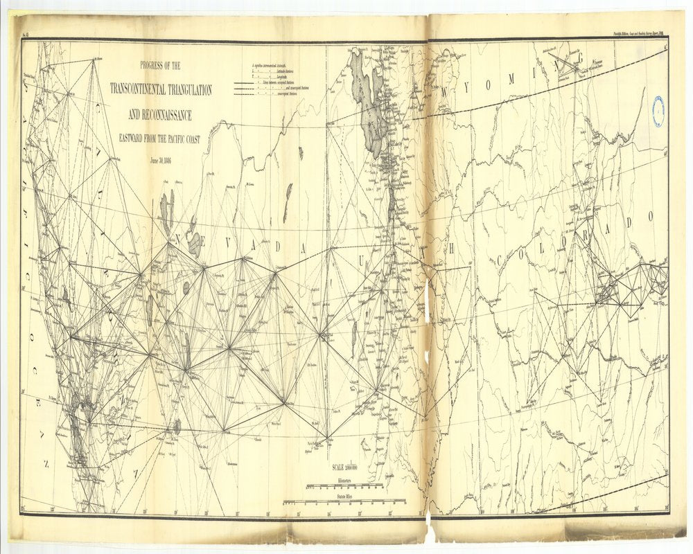18 x 24 inch 1886 US old nautical map drawing chart of 15. Parts of Sections X and XV. Progress of the transcontinental triangulation and recon- From  US Coast & Geodetic Survey x134