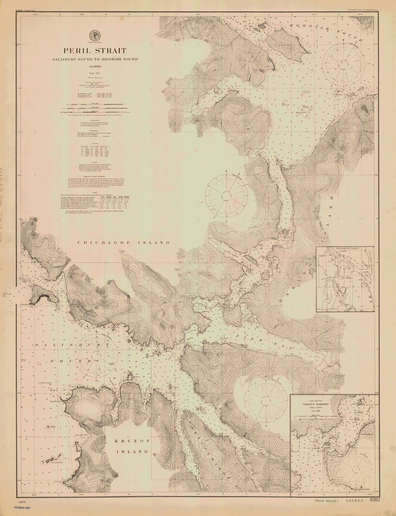 18 x 24 inch 1900 US old nautical map drawing chart of PERIL STRAIT SALISBURY SOUND TO HOONIAH SOUND From  US Coast & Geodetic Survey x1389