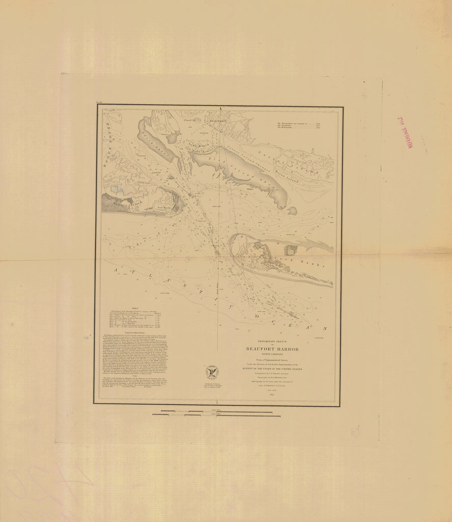 18 x 24 inch 1851 US old nautical map drawing chart of BEAUFORT HARBOR From  US Coast & Geodetic Survey x5497