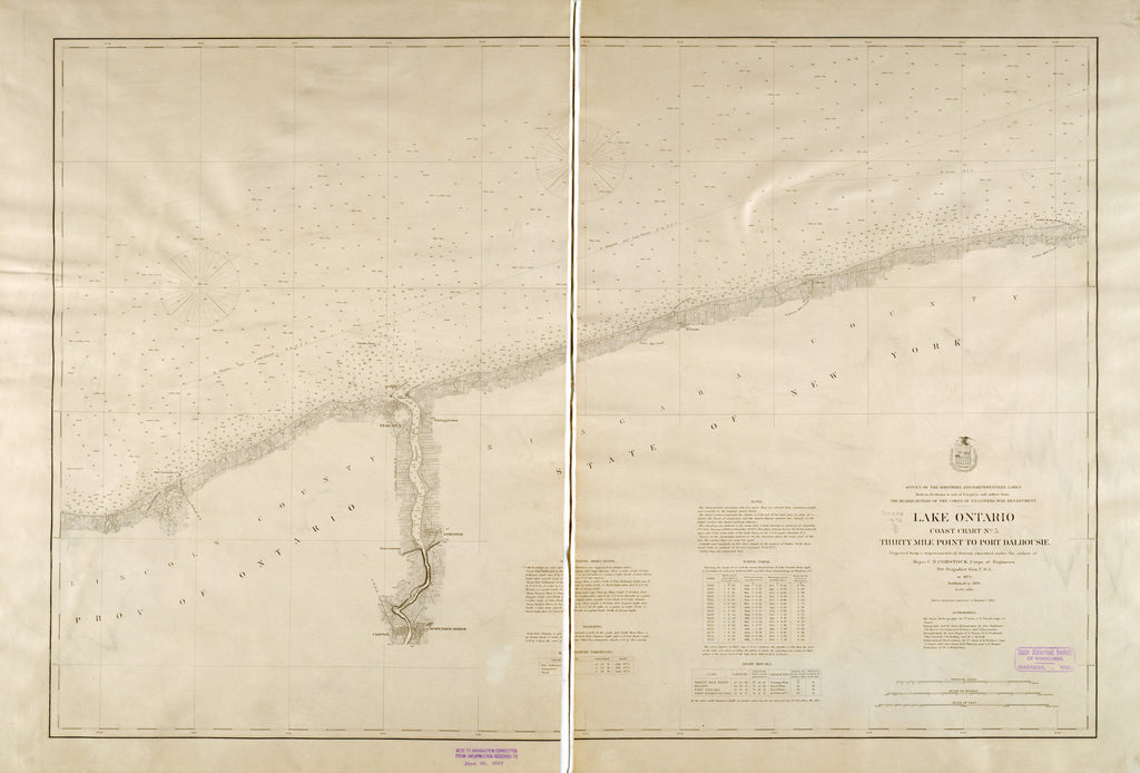 18 x 24 inch 1878 New York old nautical map drawing chart of LAKE ONTARIO THIRTY MILE POINT TO PORT DALHOUSIE From  Lake Survey x7071
