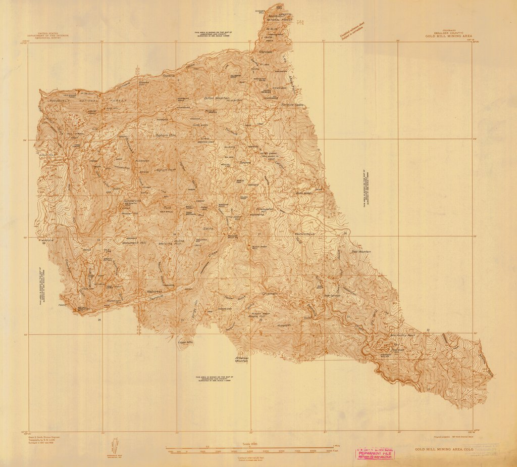 18 x 24 inch 1838 US old nautical map drawing chart of GOLD HILL MINING AREA From  US Geological Survey x270