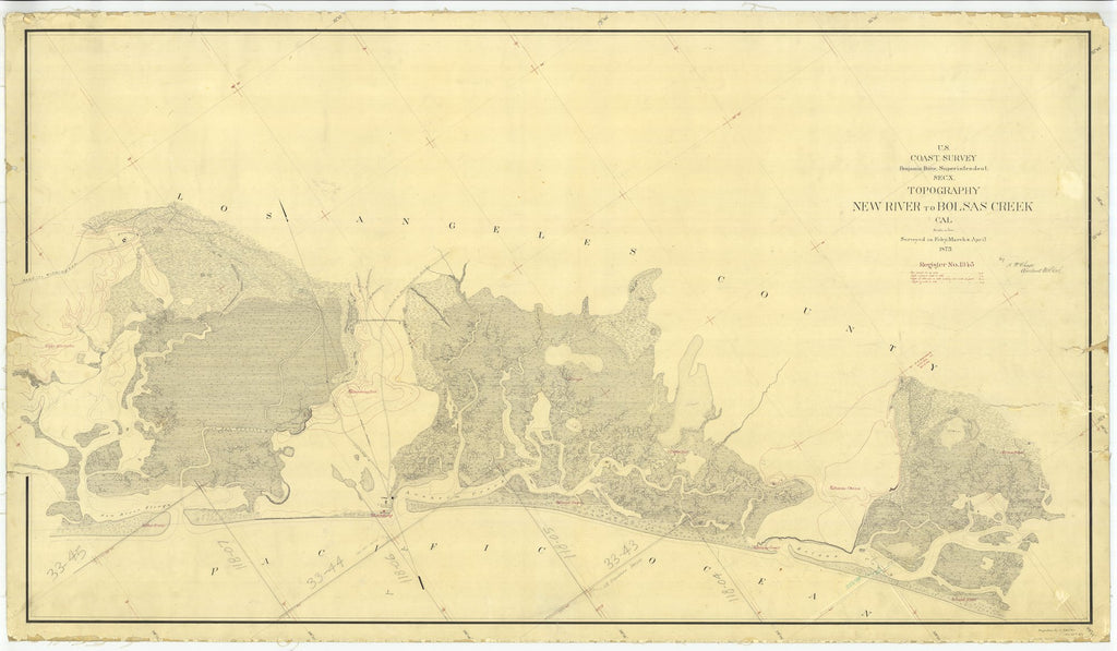 18 x 24 inch 1873 US old nautical map drawing chart of Topography New River to Bolsas Creek Cal, California From  U.S. Coast Survey x2066