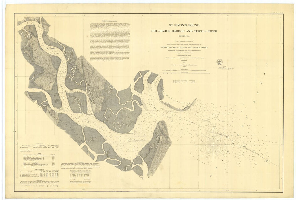 18 x 24 inch 1862 US old nautical map drawing chart of St. Simon's Sound Brunswick Harbor and Turtle River Georgia From  U.S. Coast Survey x550