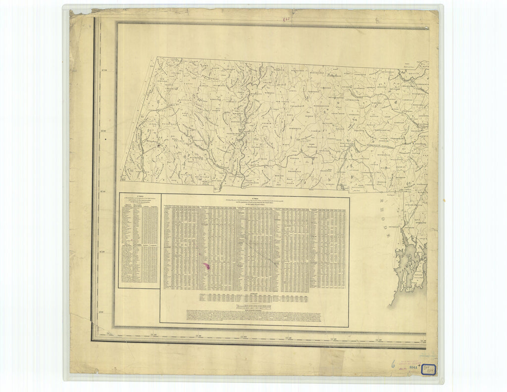 18 x 24 inch 1844 US old nautical map drawing chart of Topographical Map of Massachesetts Compiled from Astronomical Trigonometrical and Various Local Surveys From  C. Hickling x3916
