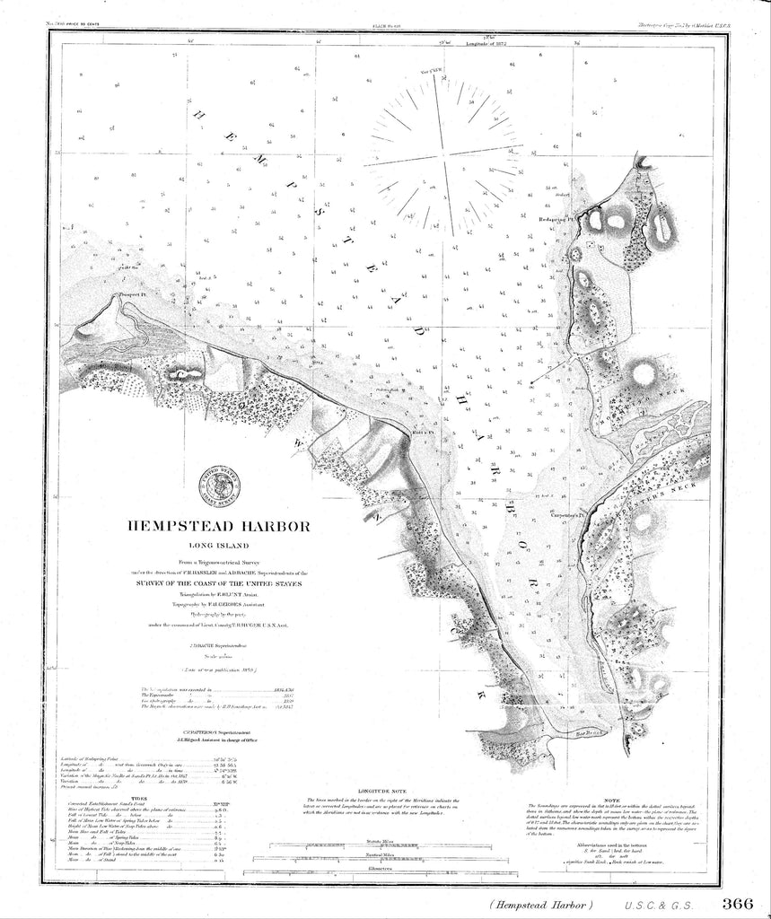18 x 24 inch 1859 New York old nautical map drawing chart of Navigation Chart of Hempstead Harbor, Long Island From  C&GS x6911