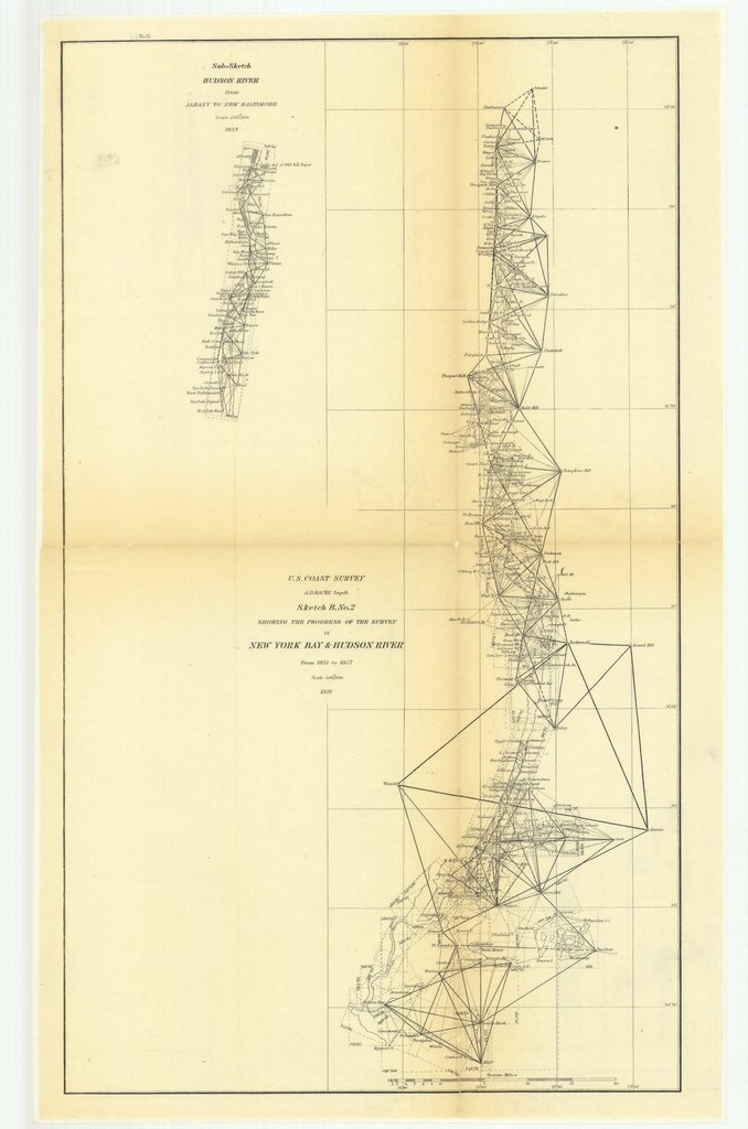 18 x 24 inch 1857 New York old nautical map drawing chart of Sketch B Number 2 Showing the Progress of the Survey in New York Bay and Hudson River from 1851 to 1857 with Sub Sketch of Hudson River from Albany to New Baltimore From  U.S. Coast Survey x7657