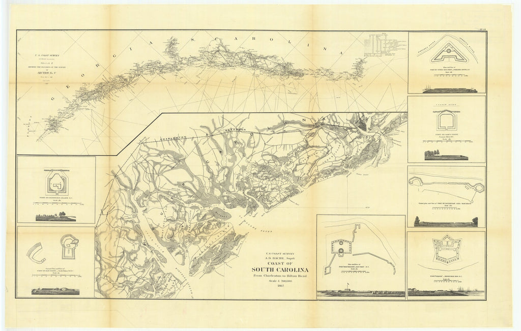 18 x 24 inch 1862 South Carolina old nautical map drawing chart of Sketch E Showing the Progress of the Survey in Section Number 5 from 1847 to 1862 with Coast of South Carolina from Charleston to Hilton Head and with Others From  U.S. Coast Survey x9066