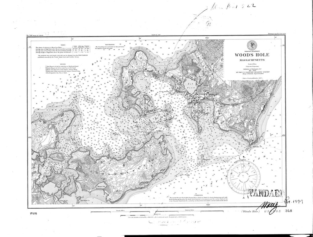 18 x 24 inch 1899 US old nautical map drawing chart of Woods Hole From  US Coast & Geodetic Survey x2689
