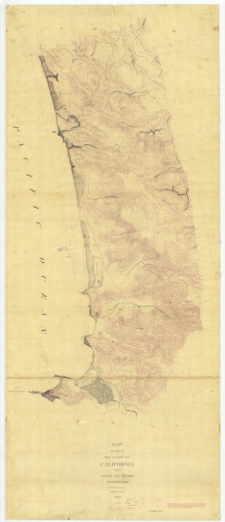 18 x 24 inch 1853 US old nautical map drawing chart of Coast of California from Point San Pedro Northward, California From  U.S. Coast Survey x1277