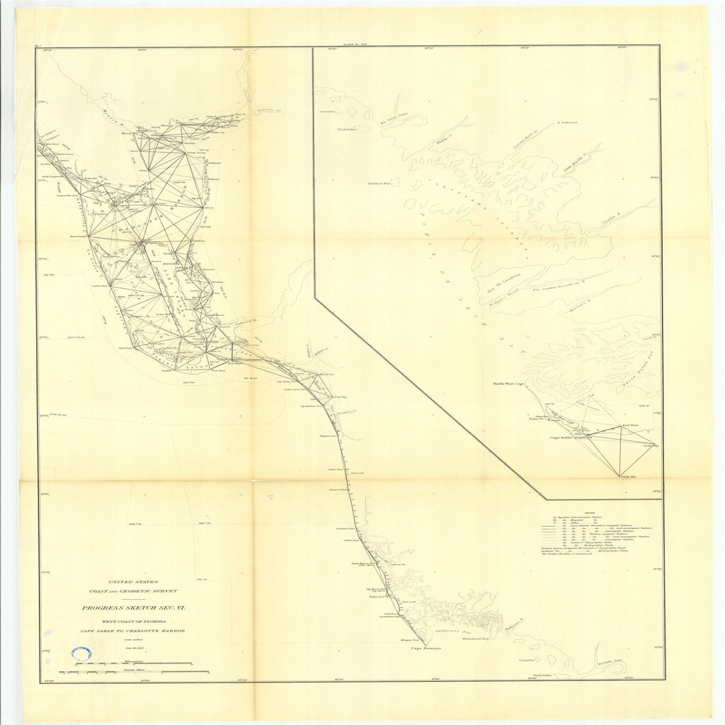 18 x 24 inch 1885 US old nautical map drawing chart of Part of Section VI. West Coast of Florida from Cape Sable to Charlotte Harbor. From  US Coast & Geodetic Survey x2566