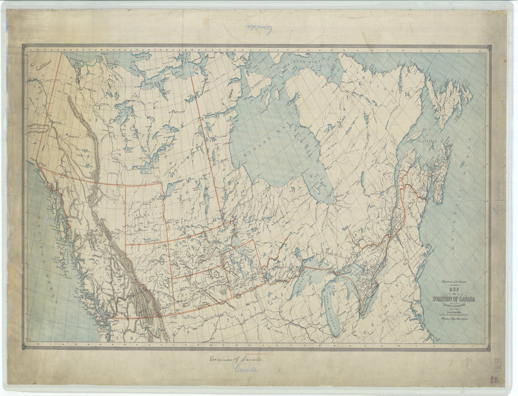 18 x 24 inch 1887 US old nautical map drawing chart of Map of the Dominion of Canada From  Department of the Interior x1630