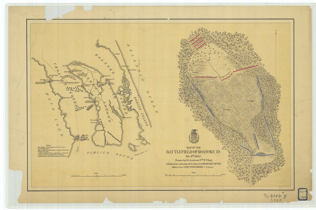 18 x 24 inch 1862 North Carolina old nautical map drawing chart of Map of the Battlefield of Roanoke Island From  U.S. Army Corps of Engineers x7133