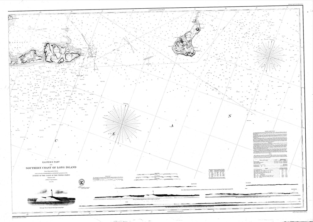 18 x 24 inch 1857 New York old nautical map drawing chart of Navigation Chart of the Eastern Part of the Southern Coast of Long Island From  U.S. Coast Survey x7042