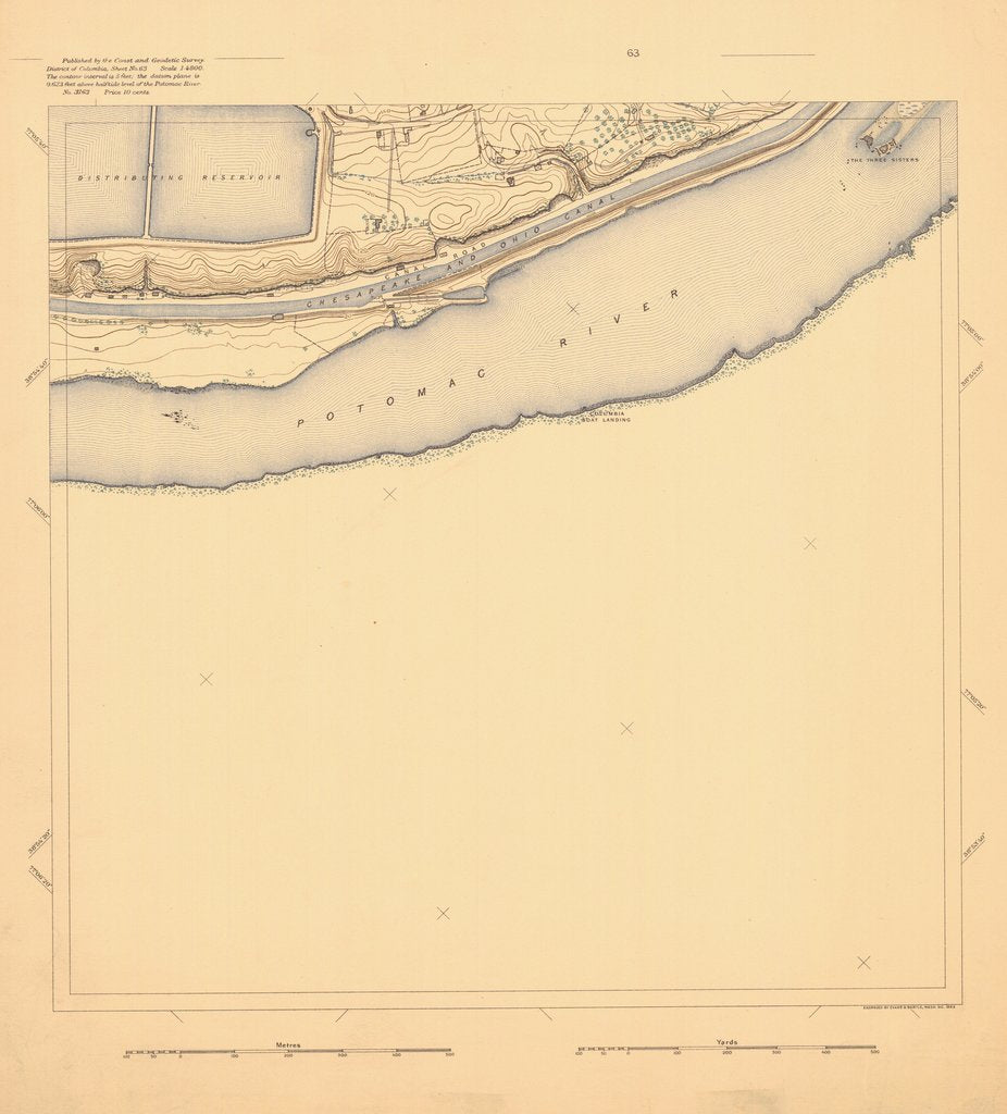 18 x 24 inch 1893 US old nautical map drawing chart of SURVEY OF POTOMAC REGION From  US Coast & Geodetic Survey x687