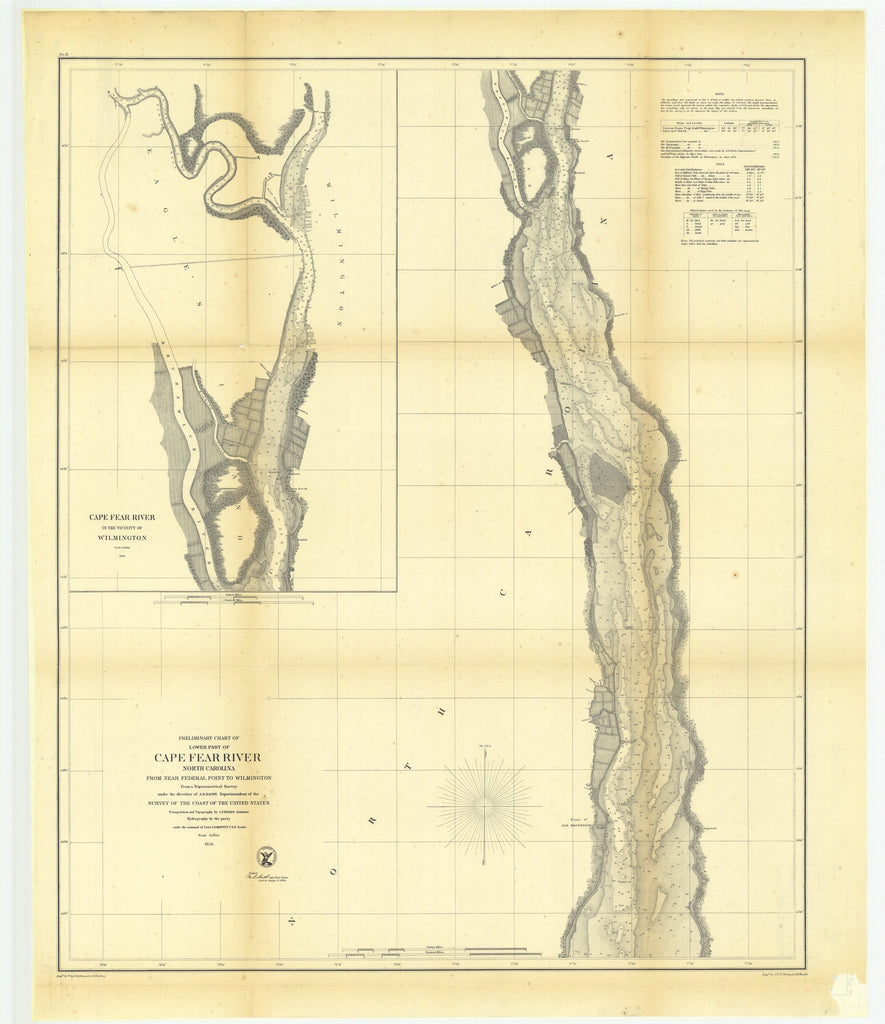 18 x 24 inch 1856 US old nautical map drawing chart of Preliminary Chart of Lower Part of Cape Fear River, North Carolina from near Federal Point to Wilmington with Cape Fear River in the Vicinity of Wilmington From  U.S. Coast Survey x5535