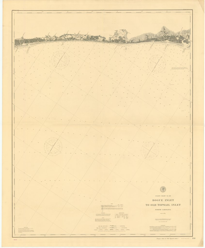 18 x 24 inch 1889 North Carolina old nautical map drawing chart of BOGUE INLET TO OLD TOPSAIL INLET, NORTH CAROLINA From  US Coast & Geodetic Survey x7119
