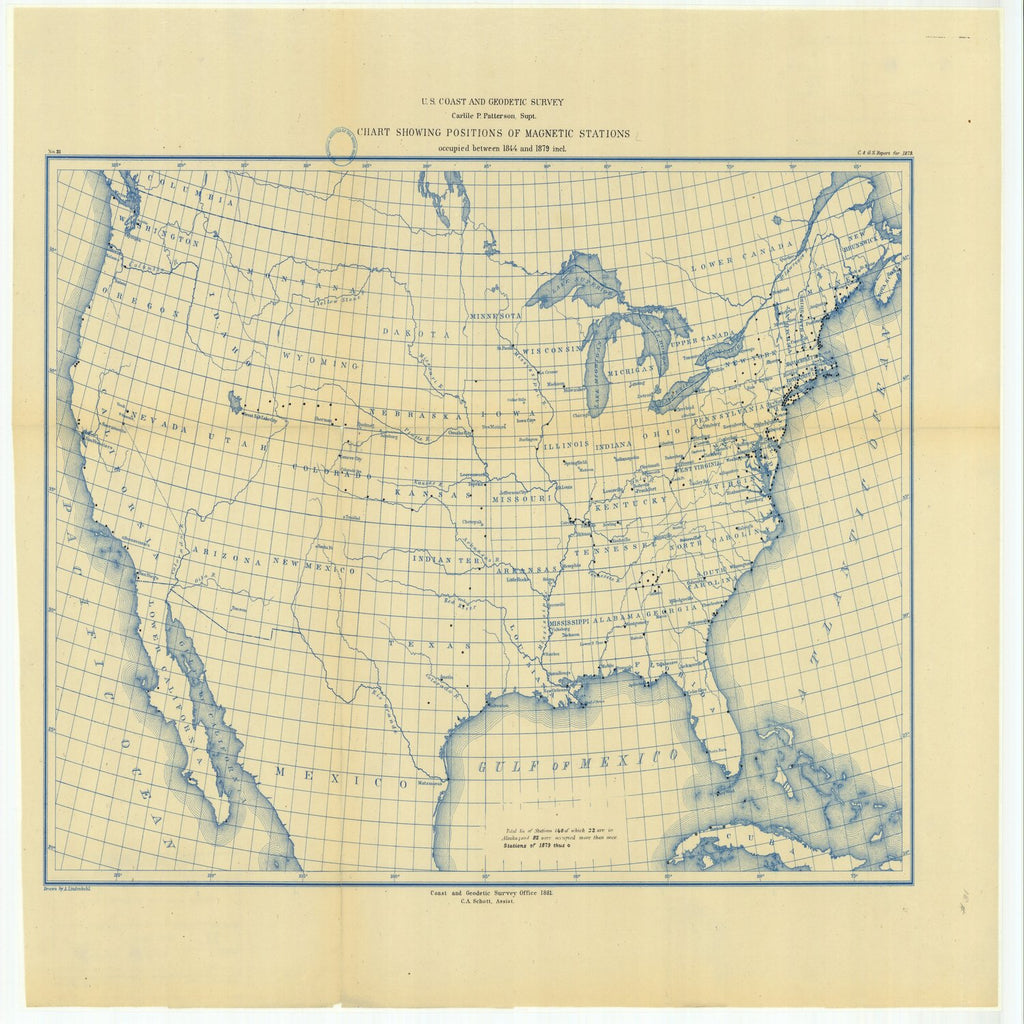 18 x 24 inch 1879 Mississippi old nautical map drawing chart of Chart Showing Positions of Magnetic Stations Occupied Between 1844 and 1879 Included From  US Coast & Geodetic Survey x6455