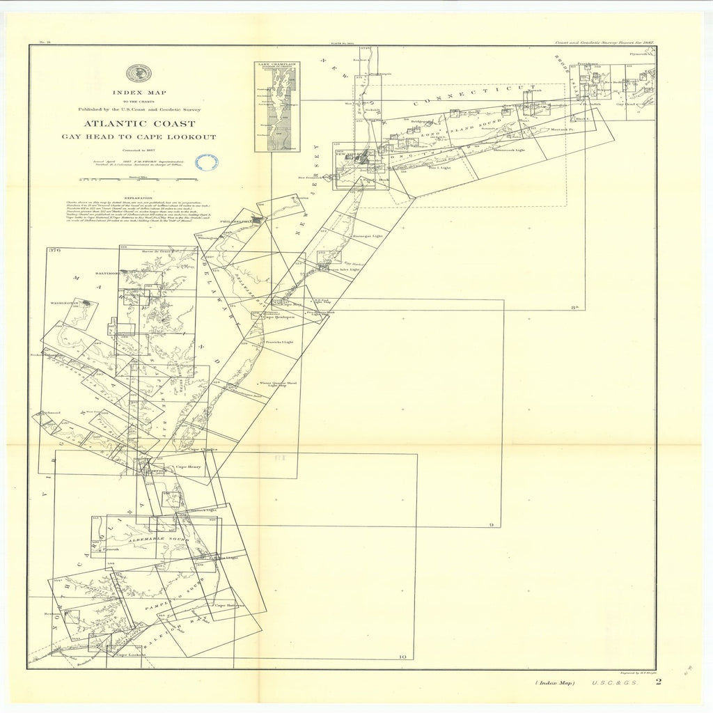 18 x 24 inch 1887 US old nautical map drawing chart of Atlantic Coast Gay Head to Cape Lookout Index map No.2. From  US Coast & Geodetic Survey x1961