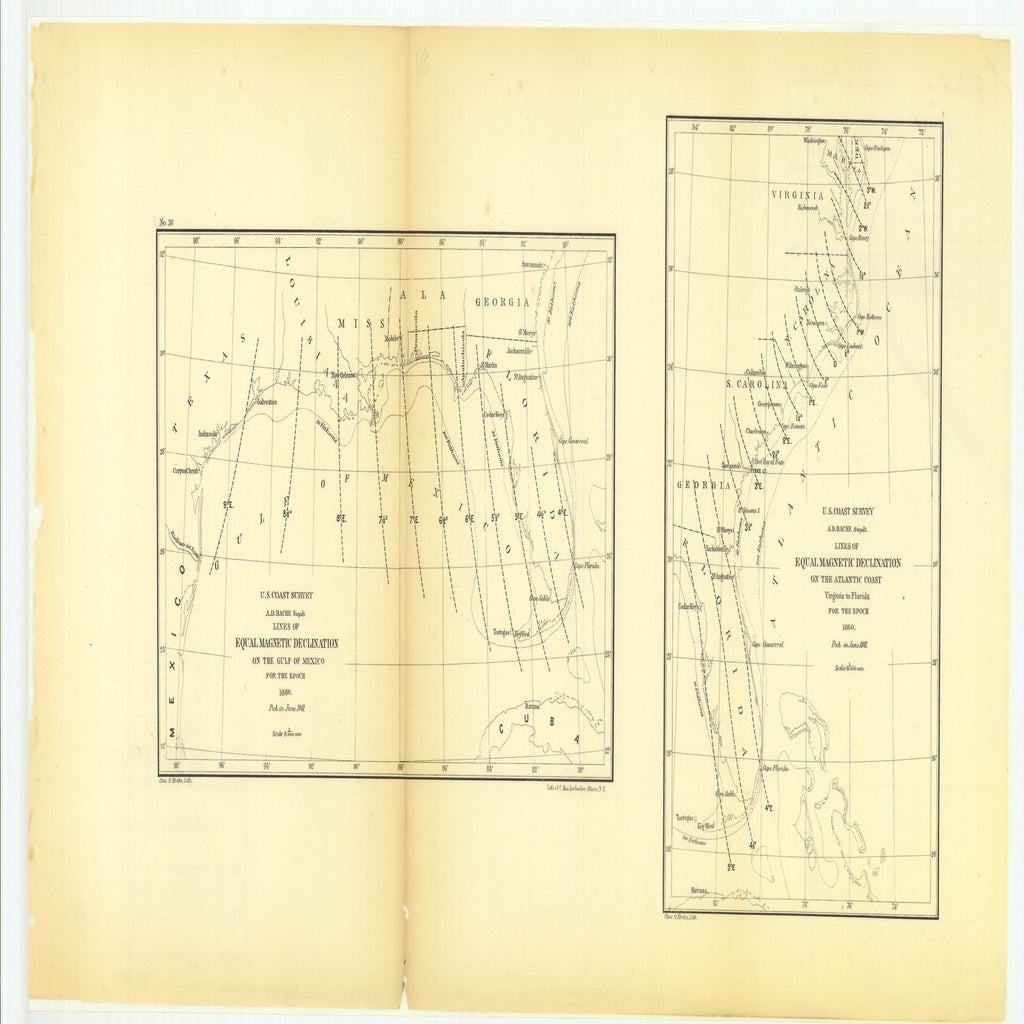 18 x 24 inch 1861 US old nautical map drawing chart of Lines of Equal Magnetic Declination on the Gulf of Mexico for the Epoch with Lines of Equal Magnetic Declination on the Atlantic Coast, Virginia to Florida for the Epoch From  U.S. Coast Survey x2284