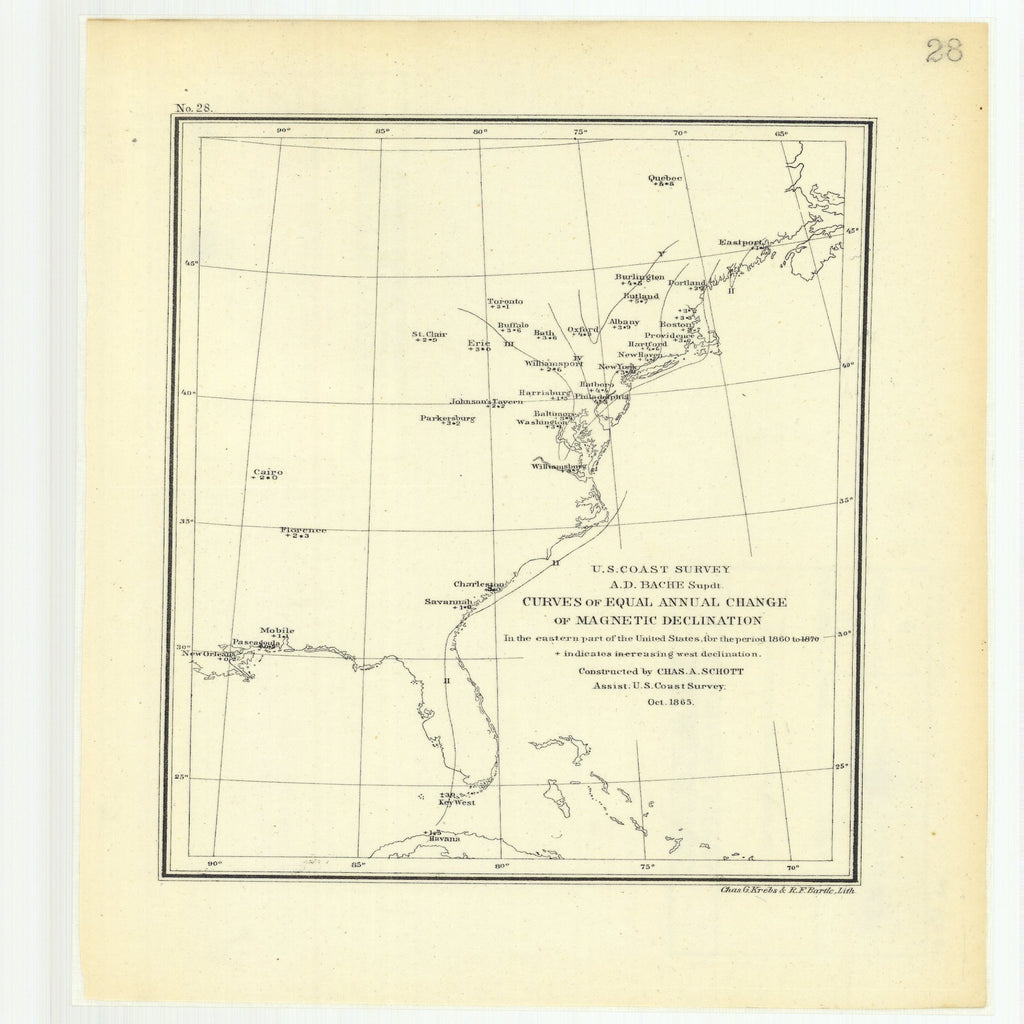 18 x 24 inch 1870 New Jersey old nautical map drawing chart of Curves of Equal Annual Change of Magnetic Declination in the Eastern Part of the United States for the Period 1860 to 1870 From  U.S. Coast Survey x7519