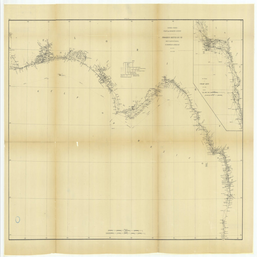 18 x 24 inch 1882 US old nautical map drawing chart of Progress Sketch, Section 7, West Coast of Florida, St. Joseph's Bay to Mobile Bay with Sub Sketch of Cedar Keys From  US Coast & Geodetic Survey x2580
