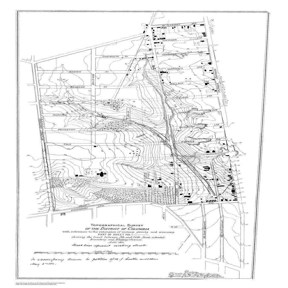 18 x 24 inch 1803 US old nautical map drawing chart of Topographic Survey between 7th and 14th Streets From  NOAA x647