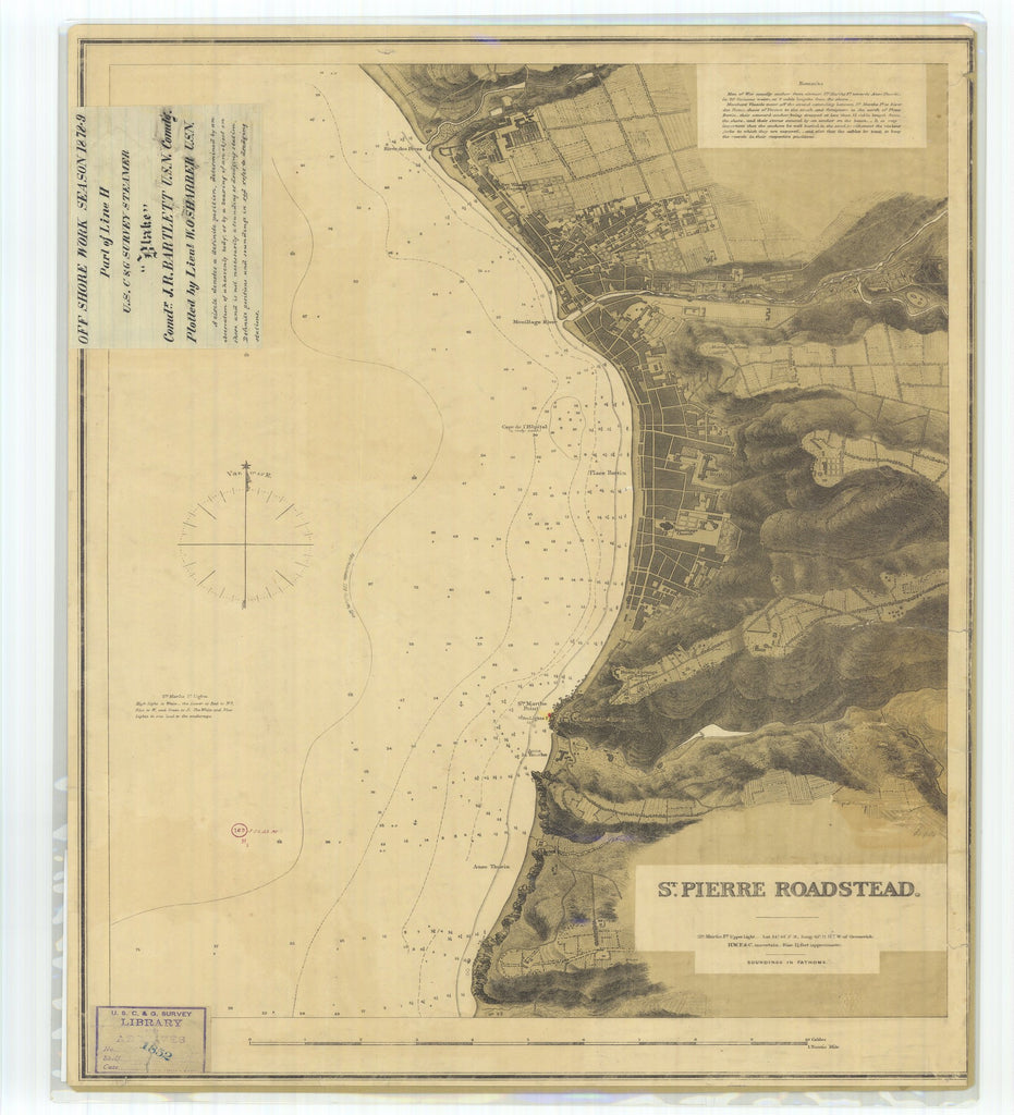 18 x 24 inch 1879 OTHER old nautical map drawing chart of Saint Pierre Roadstead Off Shore Work Season Part of Line H From  US Coast & Geodetic Survey x7326