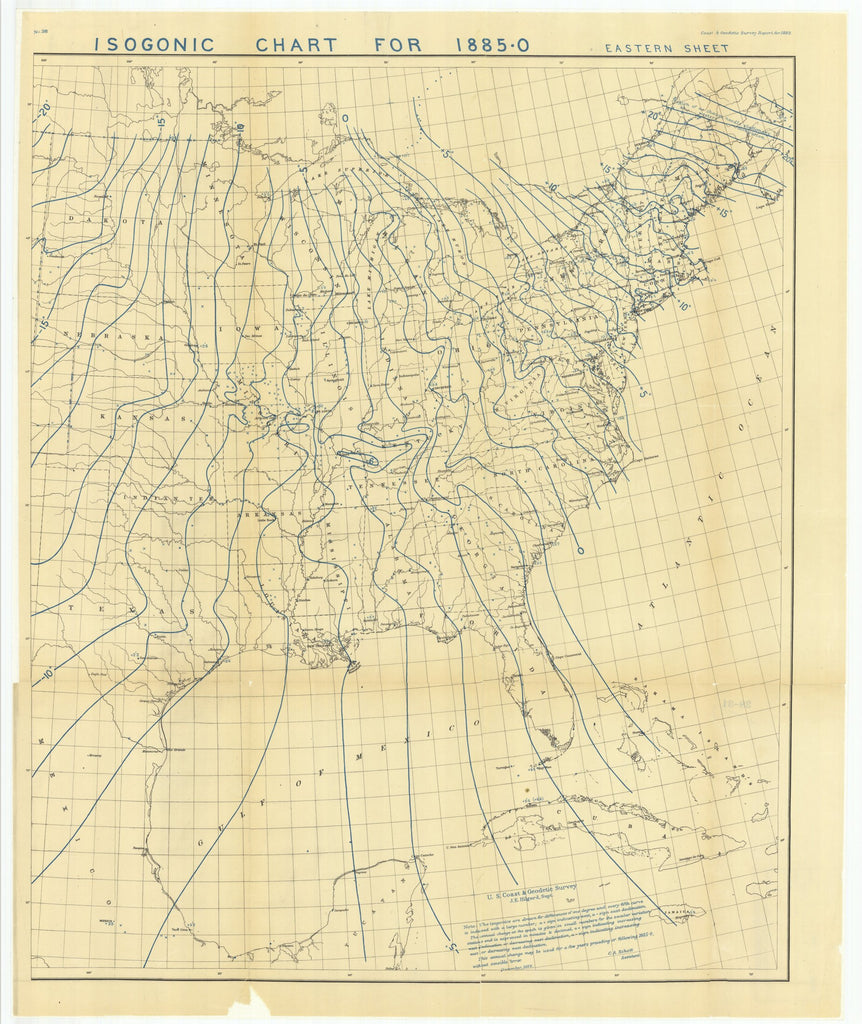 18 x 24 inch 1882 Ohio old nautical map drawing chart of Isogonic Chart for 1885-0 Eastern Sheet From  US Coast & Geodetic Survey x6766
