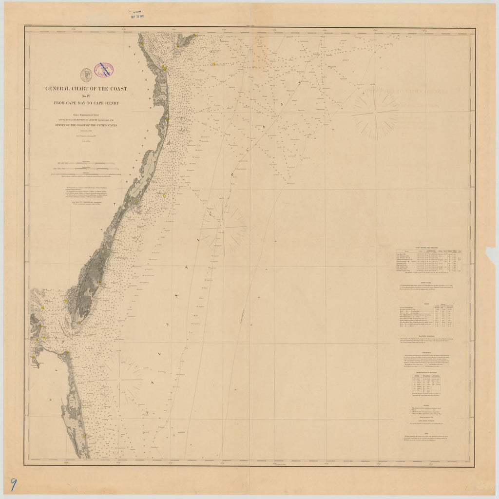 18 x 24 inch 1877 US old nautical map drawing chart of GENERAL CHART OF THE COAST NO. IV FROM CAPE MAY TO CAPE HENRY From  US Coast & Geodetic Survey x1929
