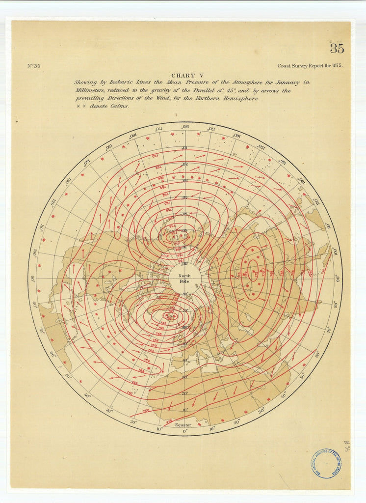 18 x 24 inch 1875 US old nautical map drawing chart of Chart 5 Showing by Isobaric Lines the Mean Pressure of the Atmosphere for January in Millimeters From  U.S. Coast Survey x1890