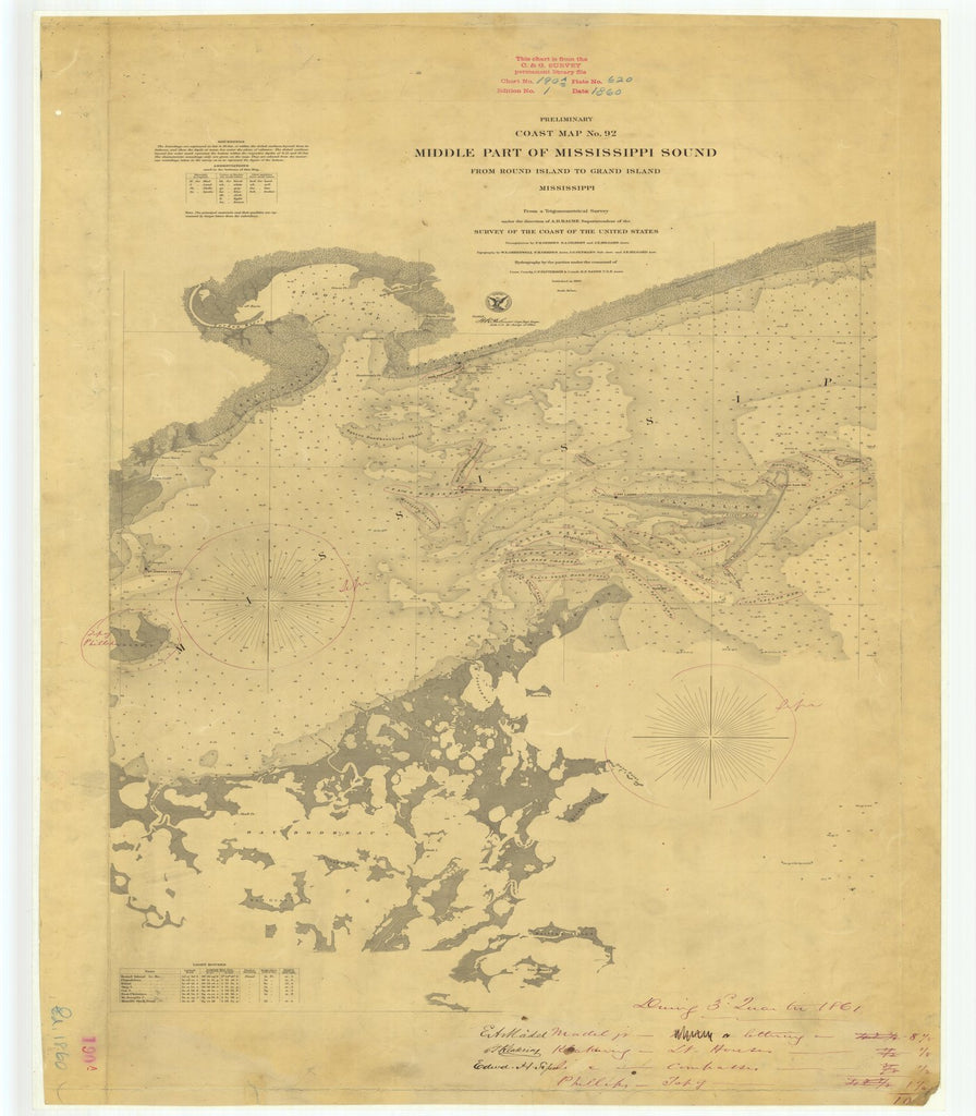 18 x 24 inch 1860 US old nautical map drawing chart of Middle Part of Mississippi Sound From Round Island to Grand Island From  U.S. Coast Survey x5906