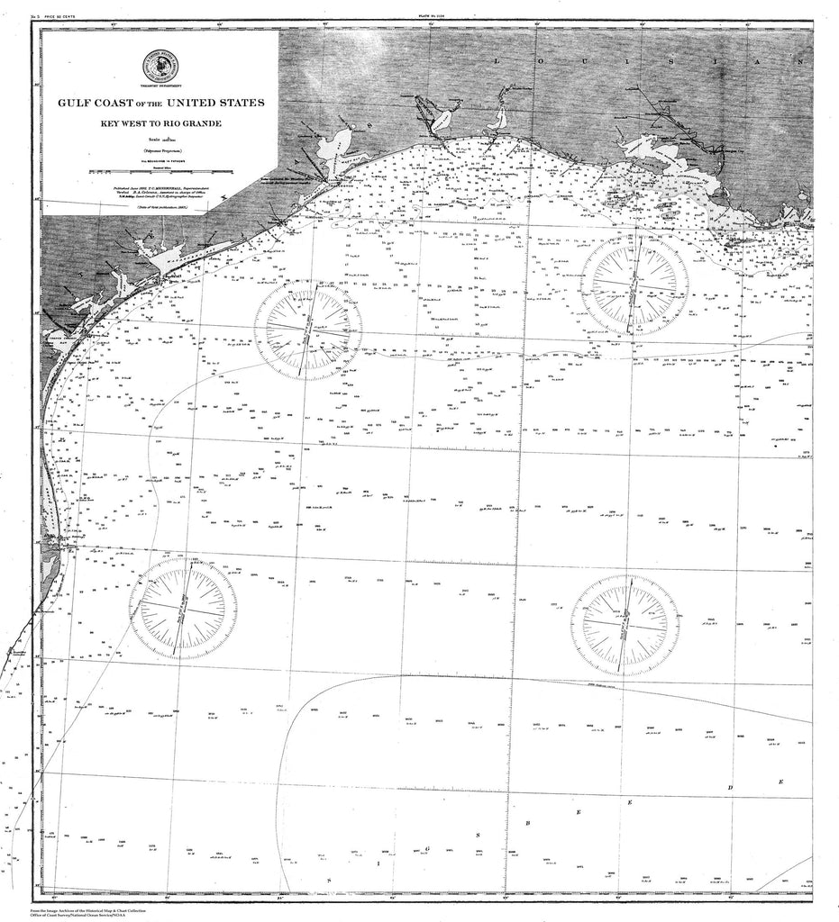 18 x 24 inch 1863 US old nautical map drawing chart of Nautical Chart of the Gulf Coast of the United States From  C&GS x5573