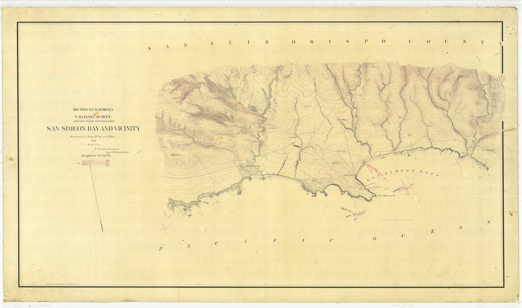 18 x 24 inch 1871 US old nautical map drawing chart of San Simeon Bay and Vicinity, California From  U.S. Coast Survey x2044