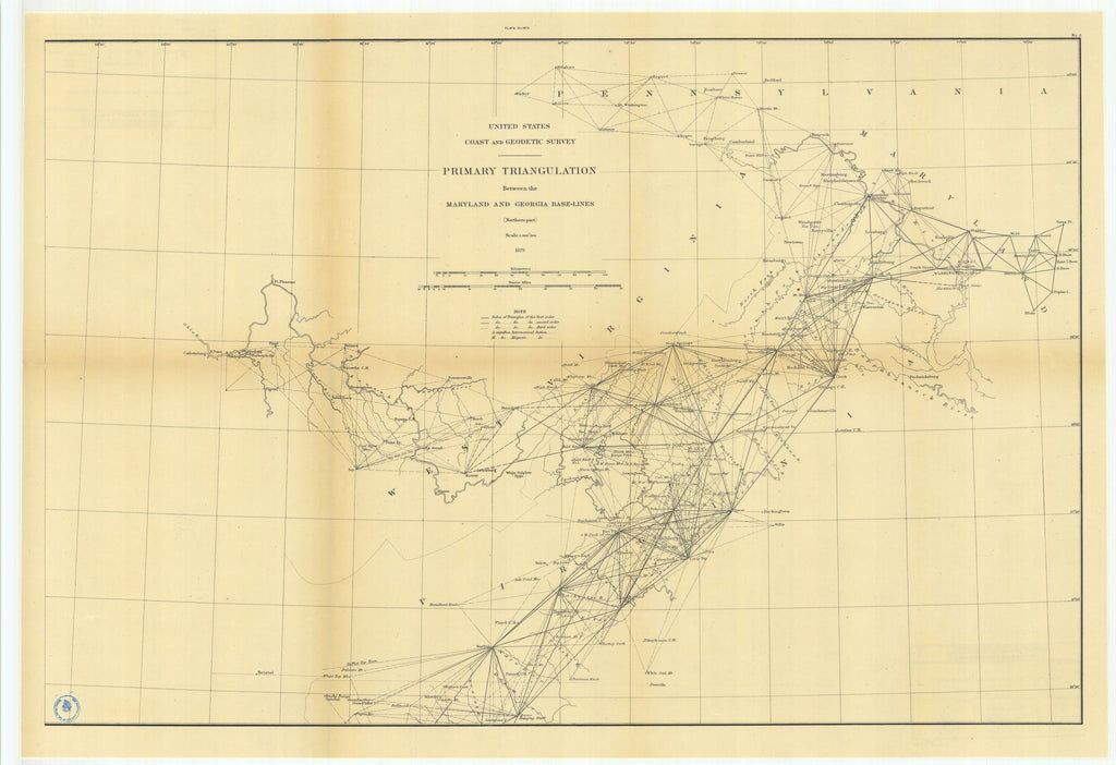 18 x 24 inch 1879 US old nautical map drawing chart of Primary Triangulation Between the Maryland and Georgia Base-Lines, Northern Part From  US Coast & Geodetic Survey x990
