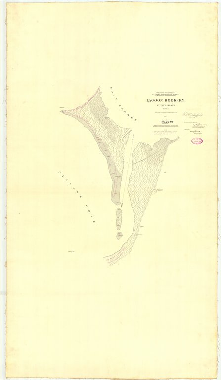 18 x 24 inch 1897 US old nautical map drawing chart of Lagoon Rookery St. Paul Island From  US Coast & Geodetic Survey x221