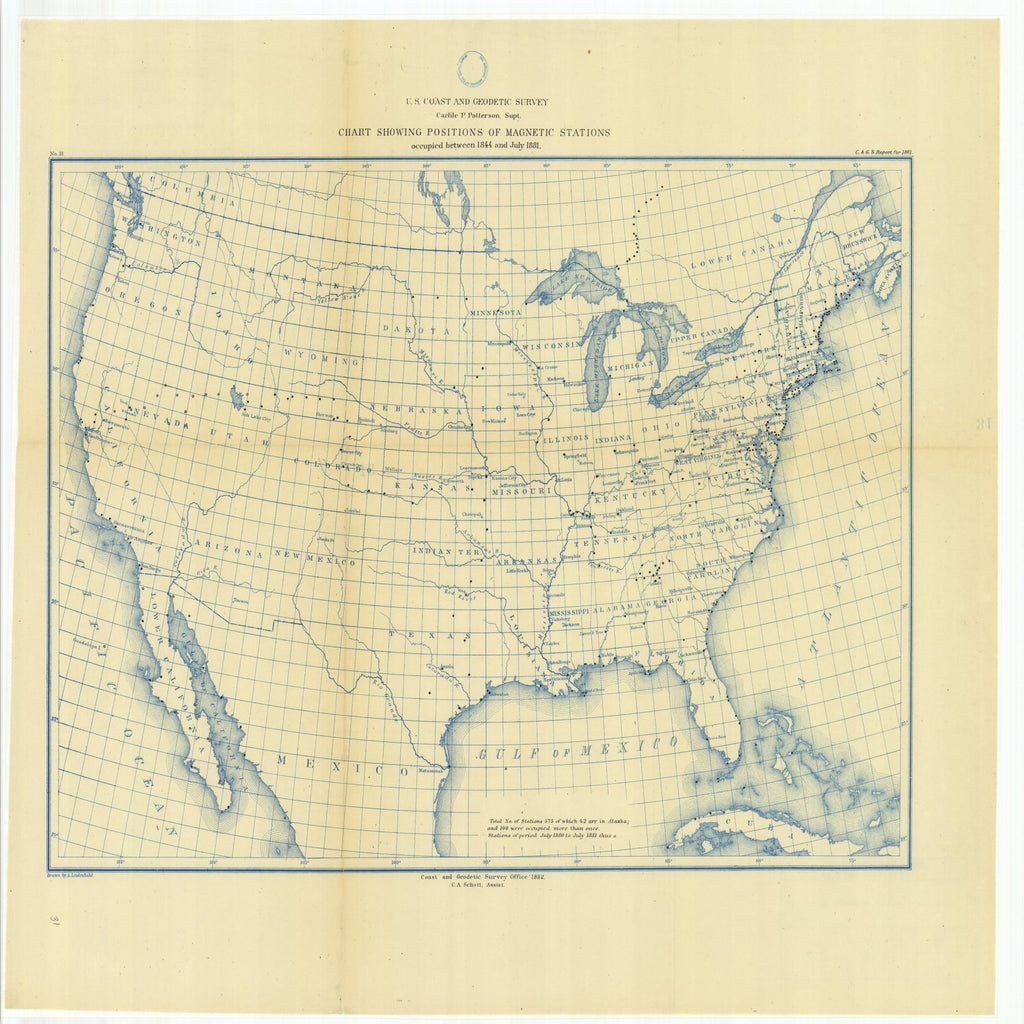 18 x 24 inch 1881 US old nautical map drawing chart of Chart Showing Positions of Magnetic Stations Occupied Between 1844 and July 1881 From  US Coast & Geodetic Survey x2290
