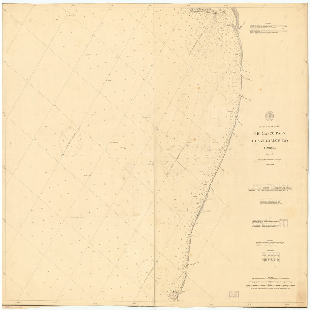 18 x 24 inch 1889 US old nautical map drawing chart of BIG MARCO PASS TO SAN CARLOS BAY, FLORIDA From  US Coast & Geodetic Survey x2449