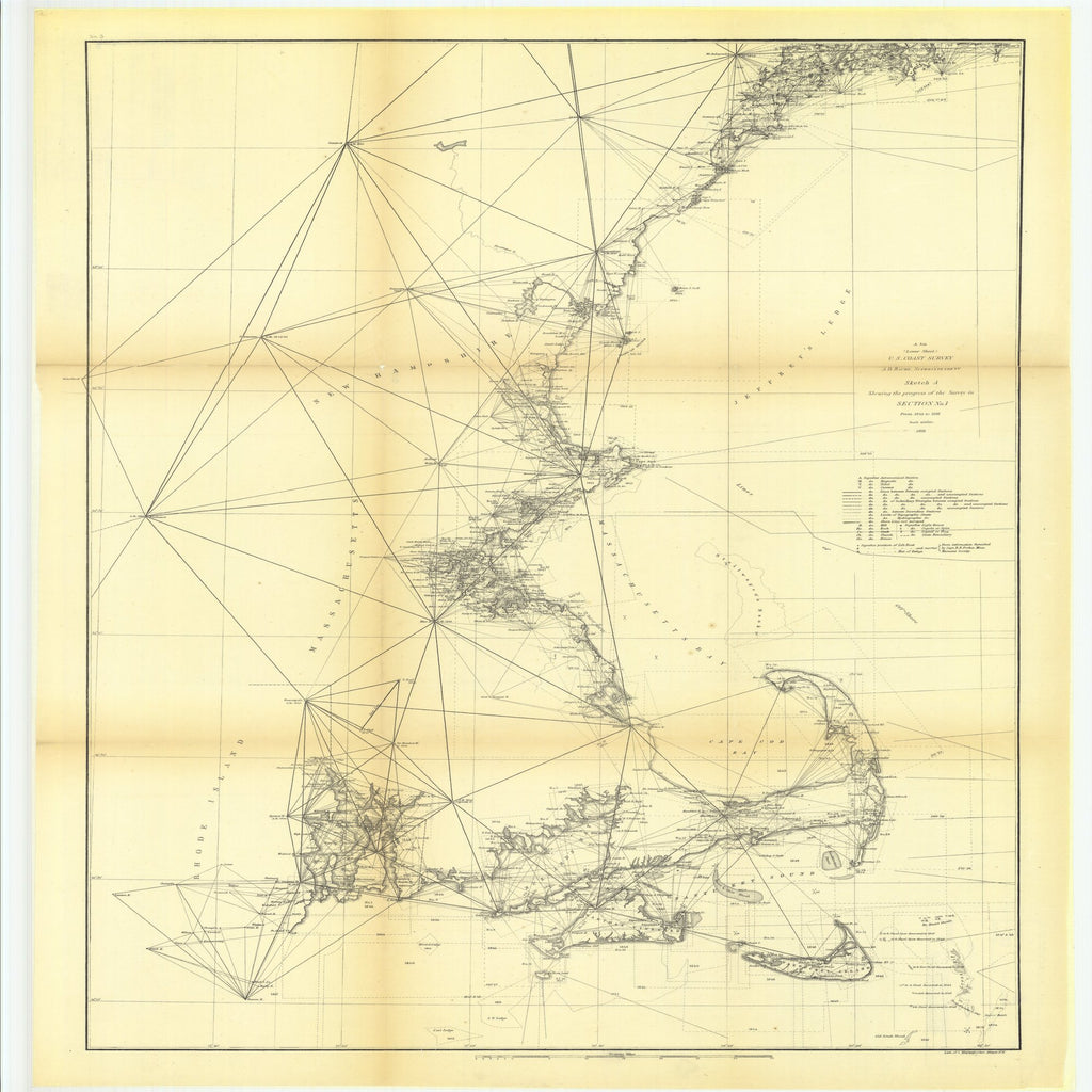 18 x 24 inch 1861 Rhode  Island old nautical map drawing chart of Sketch A Showing the Progress of the Survey in Section Number 1 from 1844 to 1861, Lower Sheet From  U.S. Coast Survey x8875