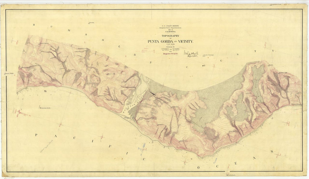 18 x 24 inch 1871 US old nautical map drawing chart of Coast Between Punta Gorda and Shelter Cove From  U.S. Coast Survey x454