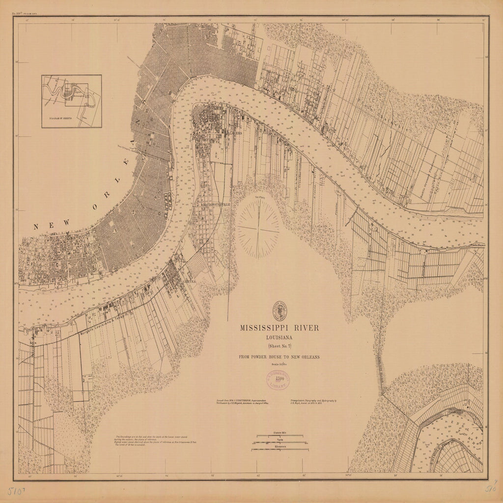 18 x 24 inch 1878 US old nautical map drawing chart of MISSISSIPPI RIVER SHEET NO. 7 From  US Coast & Geodetic Survey x2338