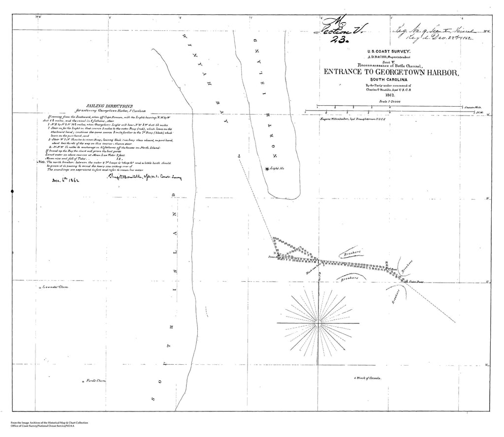 18 x 24 inch 1862 South Carolina old nautical map drawing chart of Reconnaissance of Bottle Channel, Entrance to Georgetown Harbor, SC - 1862 From  U.S. Coast Survey x8111