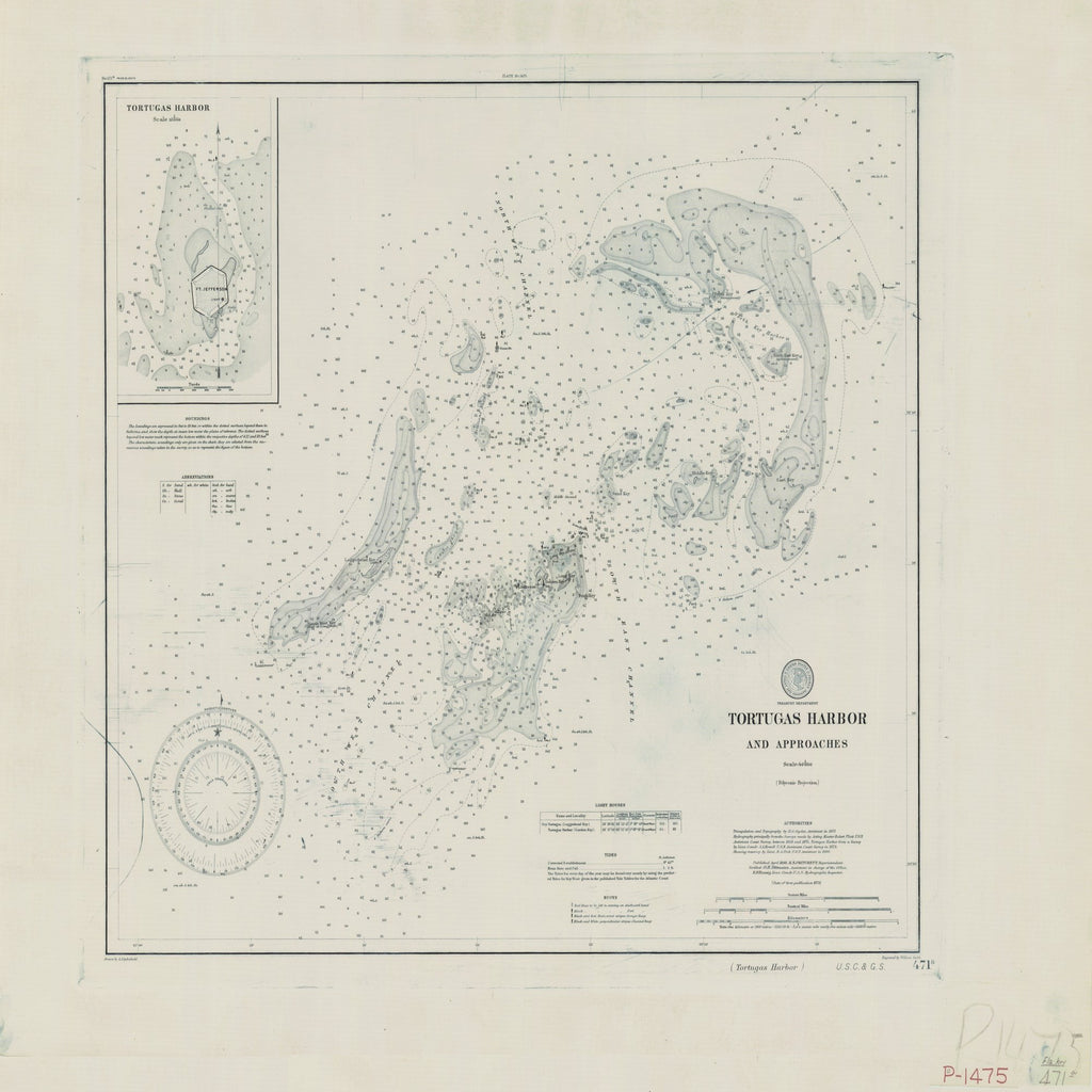 18 x 24 inch 1879 US old nautical map drawing chart of TORTUGAS HARBOR AND APPROACHES From  US Coast & Geodetic Survey x1725