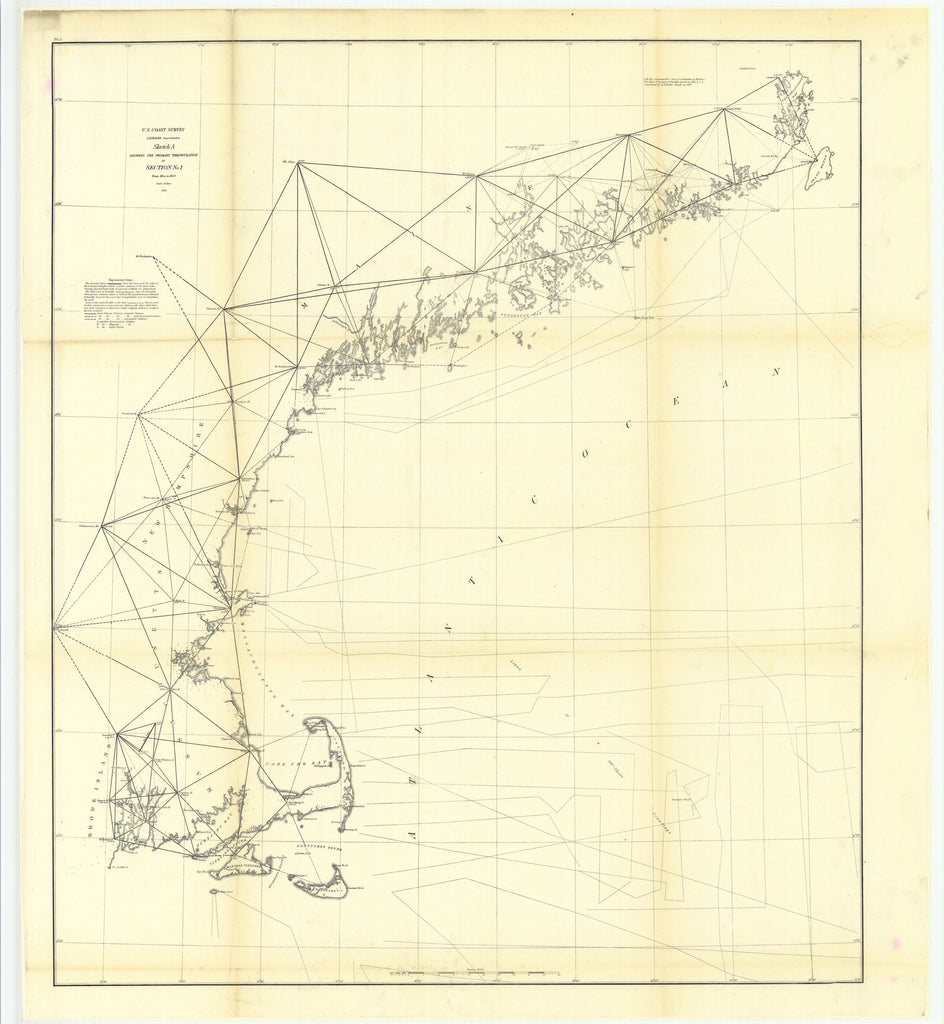 18 x 24 inch 1859 US old nautical map drawing chart of Sketch A Showing the Primary Triangulation in Section Number 1 from 1844 to 1859 From  U.S. Coast Survey x3993