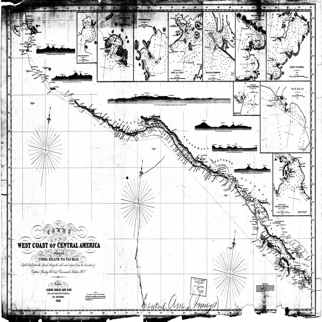 18 x 24 inch 1856 OTHER old nautical map drawing chart of Chart of the West Coast of Central America From  James Imray & Sons x7322