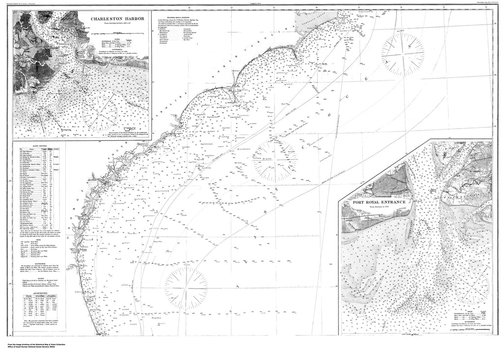 18 x 24 inch 1858 South Carolina old nautical map drawing chart of Charleston Harbor From  US Coast & Geodetic Survey x8131