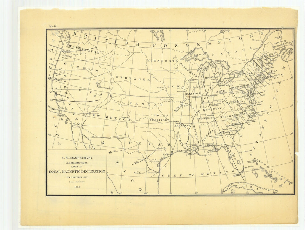 18 x 24 inch 1856 US old nautical map drawing chart of Lines of Equal Magnetic Declination for the Year 1850 From  U.S. Coast Survey x1883