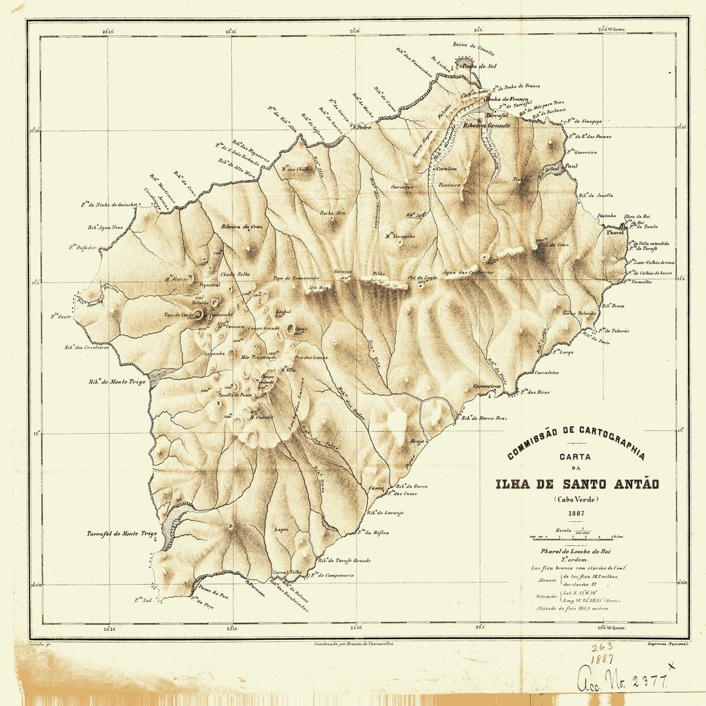 18 x 24 inch 1887 OTHER old nautical map drawing chart of Ilha Be Santo Antao From  NOAA x7330