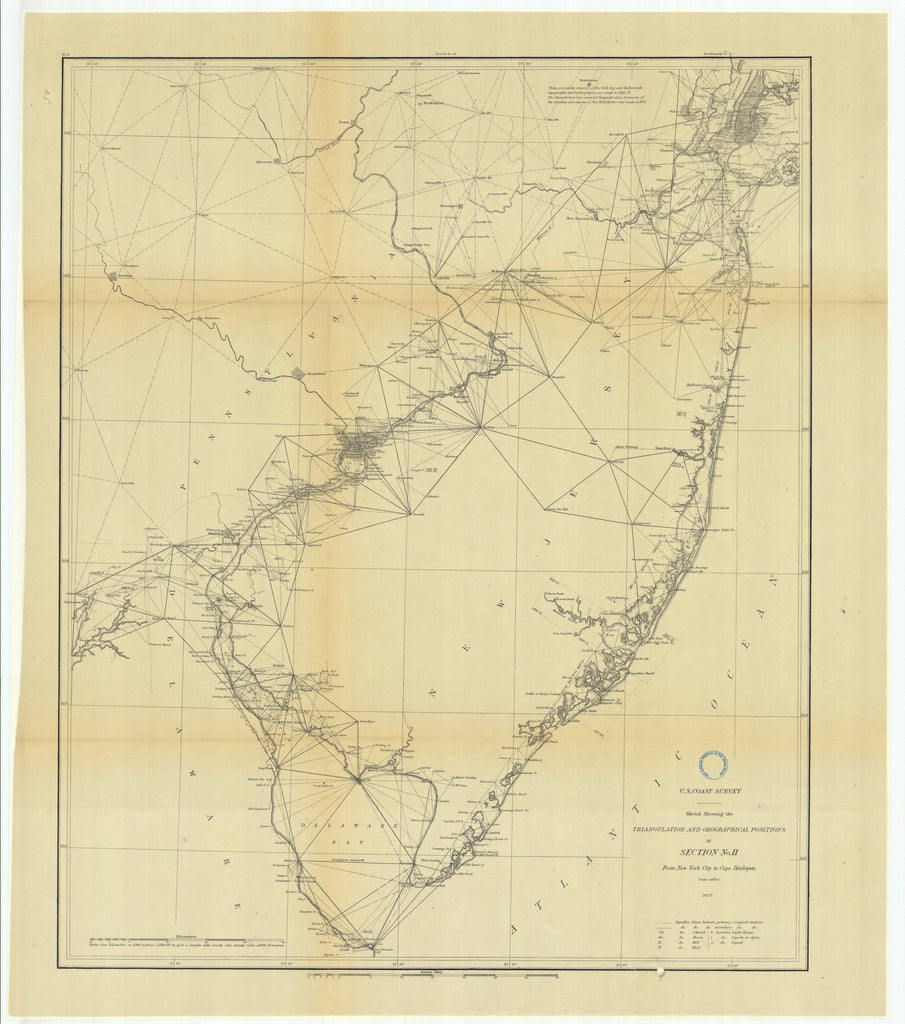 18 x 24 inch 1877 New York old nautical map drawing chart of Triangulation between the Maryland and Georgia Baseline (Southern part) with extension Westward and Triangulation in Tennesse From  U.S. Coast Survey x7690